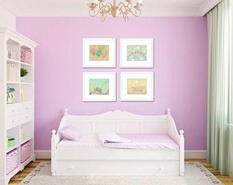 Pastel nursery art, toddler girl wall decor, carnival wall art set of 4 prints, nursery ideas, pastel art, carnival art, nursery pictures