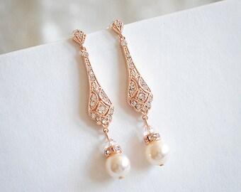 Rose Gold Wedding Bridal Earrings, Dangle Earrings, Swarovski Pearl Drop Earrings, Stud Earrings, Old Hollywood Wedding Jewelry, TRISSIE