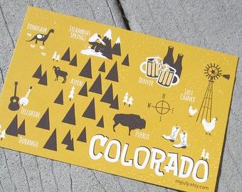 Colorado Map Postcard
