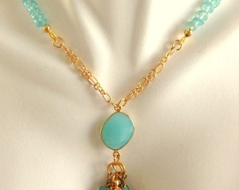 Apatite Gemstones and Aqua Chalcedony Pendant  Gold Filled Chain Necklace  Sundance Style
