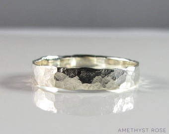 Sterling Silver Hammered Ring ~ Handmade with an antique hammer