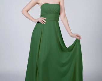 Emerald Green Strapless Long Bridesmaid/Prom Dress by Matchimony