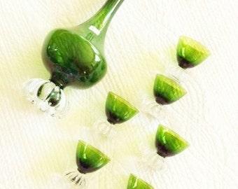 Vintage Cottage Home Emerald Green Decanter and Cordial Glasses, Swedish Vintage, Olives and Doves