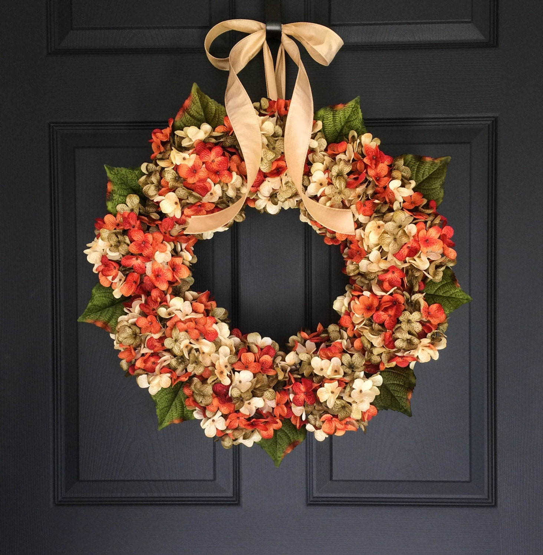 Blended Hydrangea Wreath Front Door Wreaths by