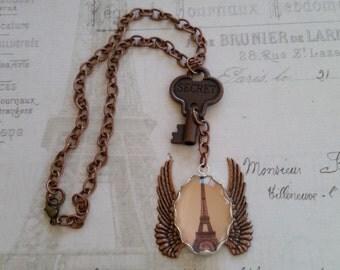 Sale! What Happens In Paris...Necklace:SECRET Copper Key & Framed Eiffel Tower in Pale Pink + Brown + Copper Angel Wings, ArtiCake,Tim Holtz