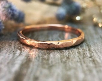 1.9MM Hammered Band | Stackable Ring | Thin Ring | Solid 14K Gold | Fine Jewelry | Free Shipping