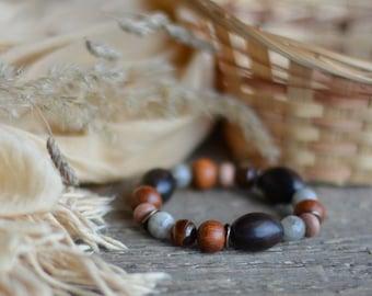 Beaded Bracelets Natural Bead Bracelets Beaded Agate Bracelets Handmade Boho Bracelets Jewelry Brown Beads