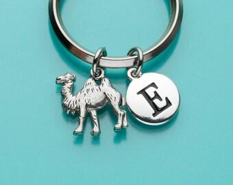 Camel Keychain, Camel Key Ring, Dromedary Charm, Initial Keychain, Personalized Keychain, Custom Keychain, Charm Keychain, 58