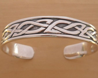 925 Sterling Silver Solid Heraldic CELTIC Design Bangle Bracelet 65 mm by 55 mm