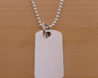 "925 Sterling Silver Heavy Solid Dog Tag on 19"" / 48 cm & 2 mm Silver Ball Chain"