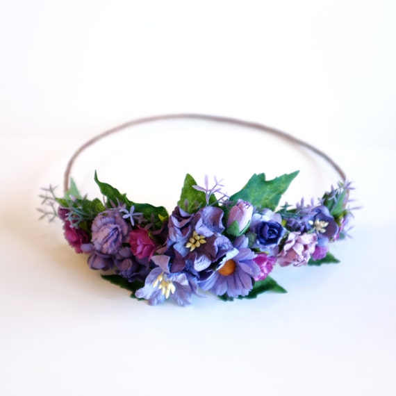 Purple DIY Flower Crown Kit Bachelorette Party Floral Crowns Bridesmaid Flower Crown Purple