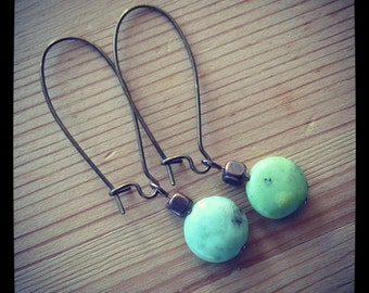 Turquoise colored Jade Gemstone Earrings - Matching with Loxahatchee River Bracelet