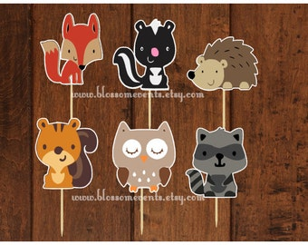 Woodland Cupcake Toppers (12) set 1