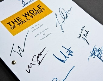 The Wolf of Wall Street Film Movie Script with Signatures / Autographs Reprint Di Caprio Unique Gift Christmas Xmas Present TV Fan Geek