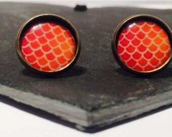 Sunset Scales - Brass Stud Earrings