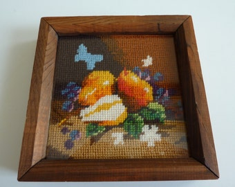 Completed Needlepoint - Colorful Fruits - Framed & Ready to Display - Square Wood Frame with Glass