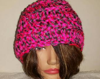Pink and Gray crocheted headband