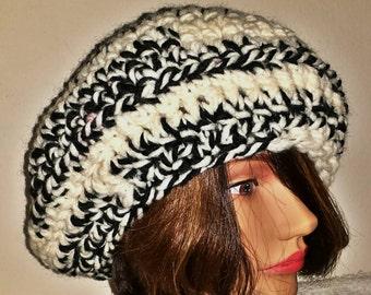 Multi - colored crochet beret hat