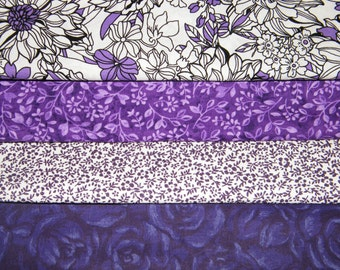 4 FQ Bundle – PURPLE Floral Prints 100% Cotton Quilt Craft Fabric Fat Quarters