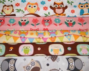 5 FQ Bundle – Playful OWLS 100% Cotton Quilt Craft Fabric Fat Quarters
