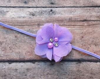 Purple Chiffon Flower Baby Headband
