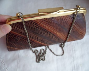Vintage genuine brown snakeskin handbag clutch evening bag purse with gold coloured hardware and chain handle snake skin