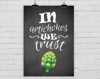 """fine-art print """"In artichokes we trust"""" chalkboard poster"""