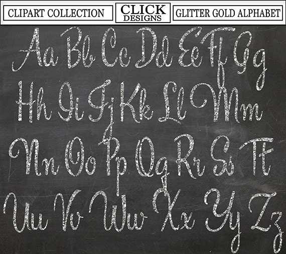glitter silver alphabet digital clipart letters numbers