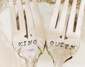 """A beautiful pair of Vintage Silver Plate Forks Hand Stamped """"King"""" & """"Queen."""" A sweet wedding, anniversary,"""