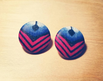 Fabric Covered Button Earrings -  Rose Water (Wax Print, Ankara, Studs, Pink, Blue, Accessories)
