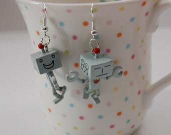 My Robot Friend AWESOMEO Dangle Earrings by Jayne Kitsch