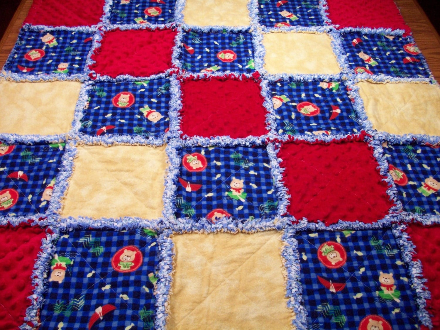 Rag Quilt Pattern Bear : Baby Rag Quilts Teddy Bear Baby Quilt Rag by LoveableQuiltsNMore