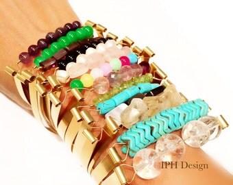 Crystal Quartz Pearl Turquoise Bracelet Gemstone Bracelet Beaded Birthstone Bracelet Bar Wire Wrapped Bridesmaid Jewelry Gem Stone Bracelet