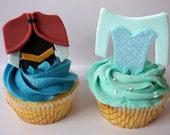 12 Elsa and Anna dress Frozen inspired fondant cupcake topper