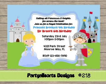 218 DIY -Princess and Knight  Party Invitations Cards.