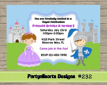232 DIY -Princess and Knight Invitations Cards.