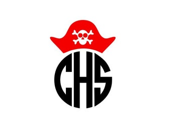 Pirate Hat Monogram instant download cut file - SVG DXF EPS ps studio3 studio (monogram font sold separately)