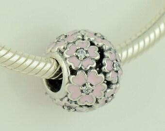New Genuine Authentic Pandora Silver & Pink Primrose Meadow Charm 791488EN68 NEW