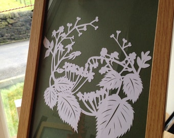 Framed Papercuts - Brambles: the Hedgerows series. Made in Lancashire.