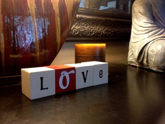 LOVE wooden letter blocks for home decor and