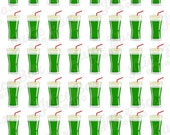 Set of 48 Green Juice / Smoothie Stickers for Various Planners, Calendars, Journals