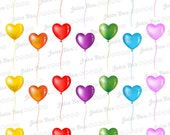Set of 28 Heart Balloon Stickers for Various Planners, Calendars, Journals