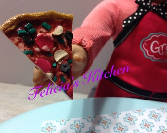 Pizza for american girl dolls, pizza for 18 inch dolls, pizza for pretend play, polymer clay doll food