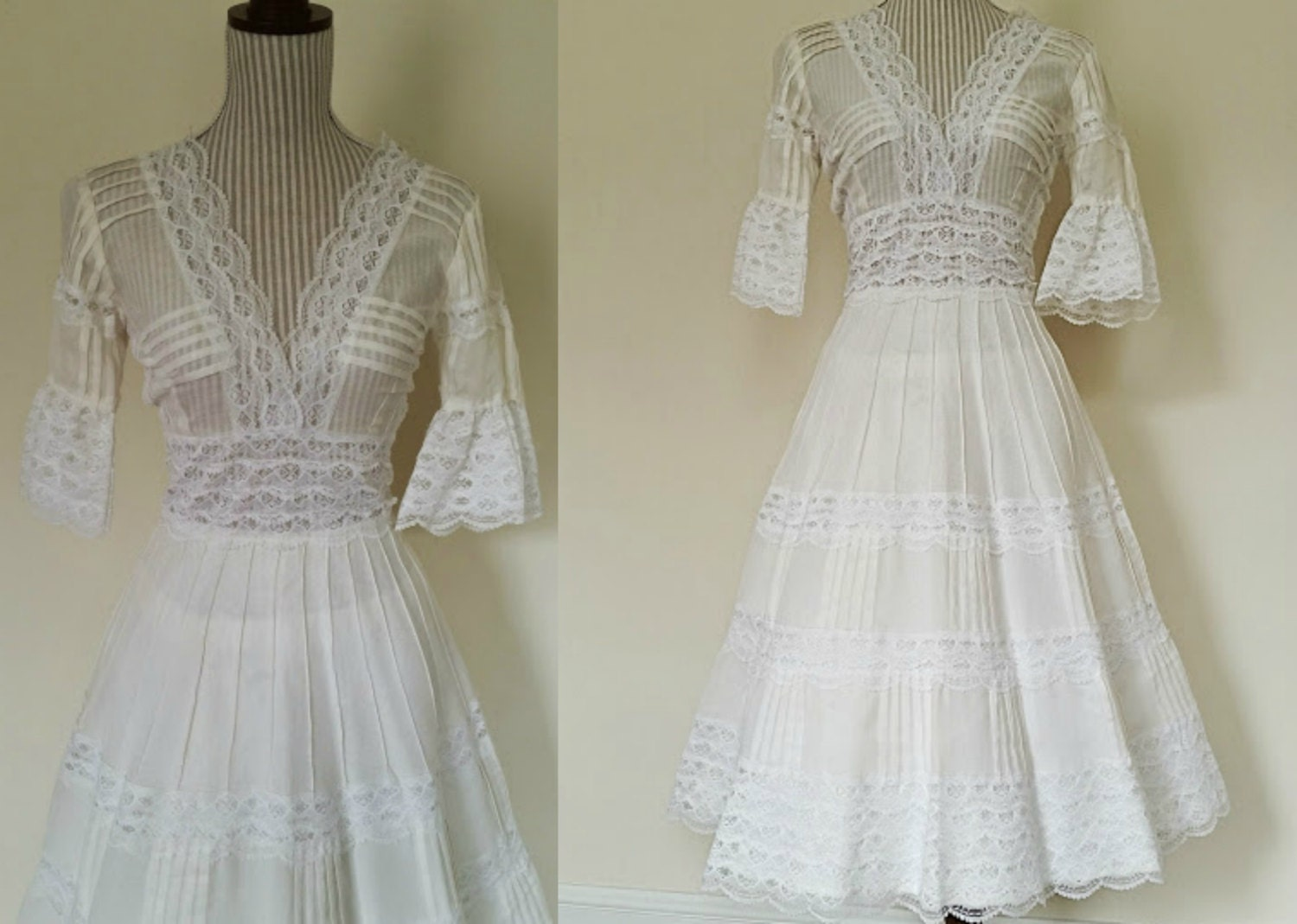 Vintage Mexican Wedding Dress // 50s White By