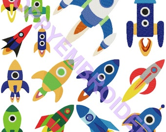 ROCKET Design for Embroidery machine  /   fusee motifs pour broderie machine / INSTANT DOWNLOAD