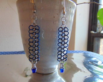 European 4 in 1 Ribbon Earrings in Bright and Blue Aluminum with Blue Glass Beads
