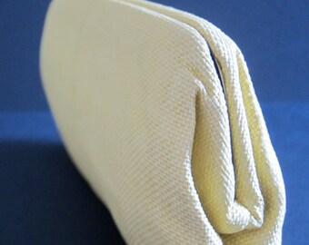 Vintage LINEN CLUTCH Handbag Purse | Buttercup Yellow | Summer | 1950s