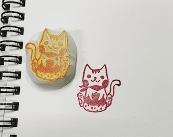 cat and chestnut hand carved rubber stamp.cat stamp.autumn stamp.