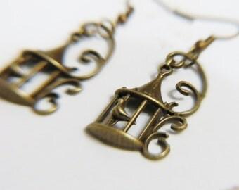 Bronze Birdcage Charm Earrings  - Birdcage Charm  Earrings -  Birdcage Earrings