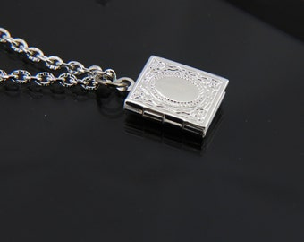 SMALL Book Locket, Engraved Locket Necklace, Antique Locket, Locket Pendant Necklace, Book Jewelry , Silver Necklace, Locket Jewelry